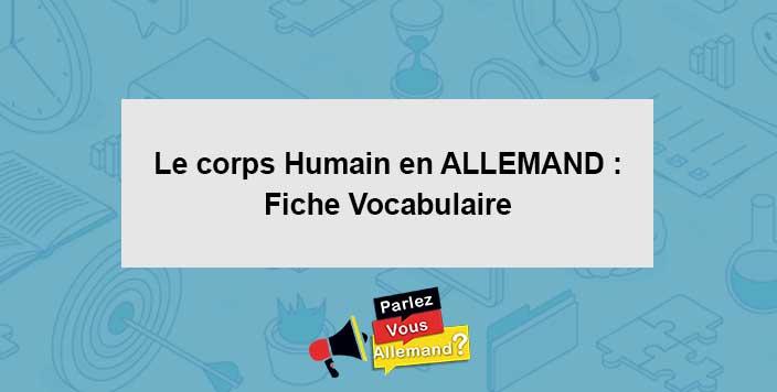apprendre vocabulaire corps humain Allemand