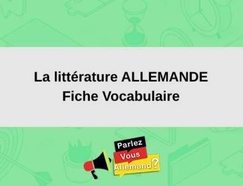 La littérature en ALLEMAND : Fiche Vocabulaire