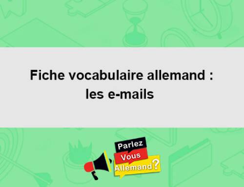 Fiche vocabulaire allemand : les e-mails